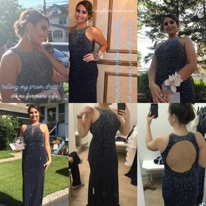 Navy Blue Studded Prom Dress